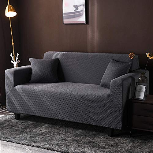 Hybad elasticas salón Funda de sofá,Protector Sofa Gatos arañazo,Elastica Fundas de Sofa Anti Gatos,Fundas de sofá Jacquard, Funda de Punto de Asiento-Dark_Grey_4_Seater