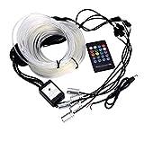 GUANGGUANG Heartwarming Shop 6 Metros de Fibra óptica Amplias lámparas Lámpara Ambiental Control de aplicación Control Remoto RGB Coche Auto Decorativo Luz Luz Interior (Emitting Color : Voice)