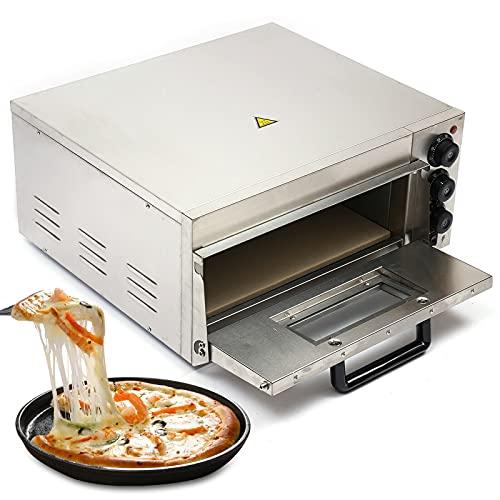 Futchoy Elektrischer Pizzaofen 2000W Profi Kommerzielle 1 Kammer Pizzabackofen Für die Gastronomie Pizza kann bis12-14 Zoll
