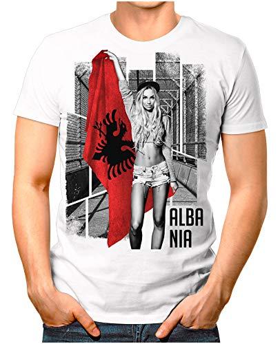 OM3® - Albania-Soccer-Girl - Herren T-Shirt EM 2020 Fußball Trikot Sexy Frau Albanien Vintage Weiß 3XL