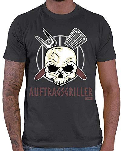 HARIZ Herren T-Shirt Auftragsgriller 2 Grill Geburtstag Plus Geschenkkarte Dunkel Grau XXL