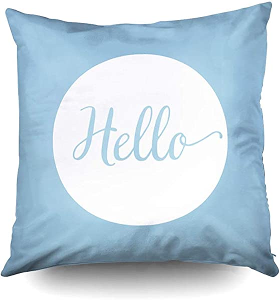 Halloween Hello Light Blue White Reversible Decorative Throw Pillow Case 18X18Inch Home Decoration Pillowcase Zippered Pillow Covers Cushion Cover With Words For Book Lover Worm Sofa Couch