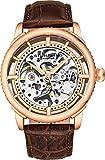 Stuhrling Originale orologio automatico da uomo, quadrante scheletro con cinturino in pelle, serie 3933 (Rose Gold)