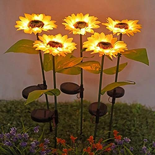 Luces de jardín solar, girasol decorativo al aire libre, decoración de trayectoria solar, luces de jardín LED al aire libre, luces de paisaje solar impermeables, paquete de 2