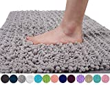 Yimobra Original Luxury Shaggy Bath Mat, 24 x 17 Inches, Soft and Cozy, Super Absorbent Water, Non-Slip, Machine-Washable, Thick Modern for Bathroom Bedroom, Gray