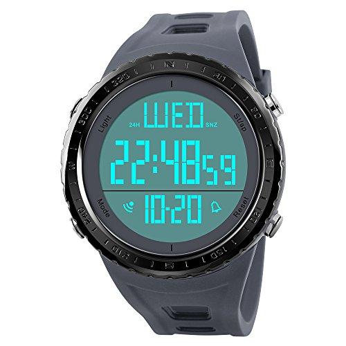 FeiWen Herrenuhr 50M Wasserdicht Sportuhr LED Elektronik Multifunktional Digitaluhr Doppelte Zeit Alarm Stoppuhr Uhren Outdoor Militär Taktik Armbanduhr (Grau)