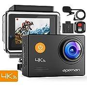 APEMAN 4K Action Cam 16MP WiFi Ultra HD con Microfono Esterno Fotocamera Subacquea 40M EIS Stabilizzazione 170° Grandangolare/Telecomando 2.4G/Time Lapse/Slow Motion/2 Batterie/Accessori Kit
