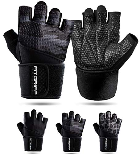 Fitgriff® Fitness Handschuhe V2, Trainingshandschuhe, Sporthandschuhe für Damen und Herren, Krafttraining, Kraftsport, Training, Sport, Gym, Workout Gloves - Camo-Black (Größe 9)