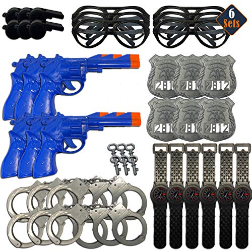 Police Party Favors Playset ~ 6 Pack Policeman Cop Accessories Sets Including Handcuffs, Toy Gun, Badge, and More (Police Toys Party Supplies)
