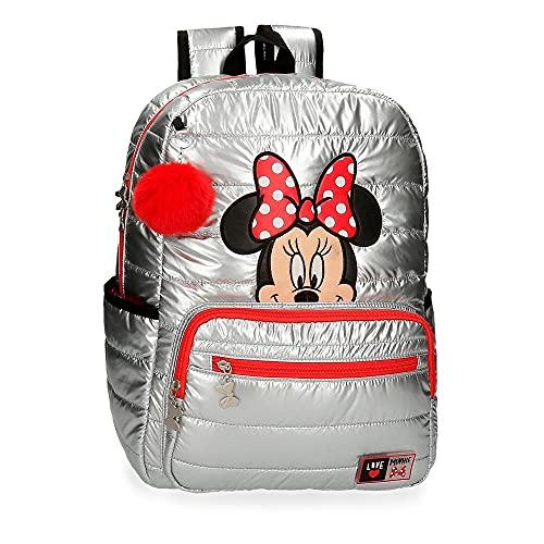 "Disney Minnie My Pretty Bow Mochila Escolar para Portátil Adaptable 15,6"" Gris 32x42x14 cms Poliéster 20,16L"