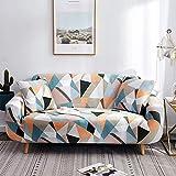WXQY Patrón de triángulo Fundas elásticas elásticas Funda de sofá Antideslizante Funda de sofá para Mascotas Esquina en Forma de L Funda de sofá Antideslizante A22 2 plazas