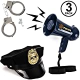 Tigerdoe Police Accessories for Kids - 3 Pc Set - Cop Toys - Police Officer Costume Blue
