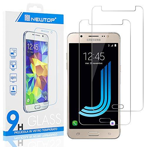 N NEWTOP [2 Pezzi] Pellicola GLASS FILM Compatibile per Samsung Galaxy J5 2016 (J510), Fina 0.3mm Durezza 9H in Vetro Temperato Proteggi Schermo Display Protettiva Anti Urto Graffio Protezione