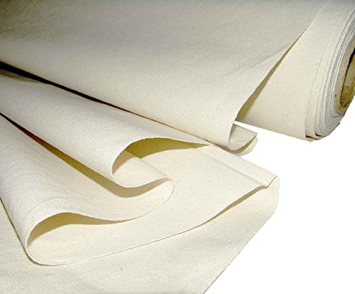 "Mybecca Unprimed Cotton Canvas Fabric 10oz Natural Duck Cloth 36"" Wide, 5 Yards"