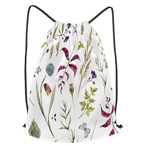 Impermeable Bolsa de Cuerdas Saco de Gimnasio acuarela patrón floral lindo papel tapiz vegetativo Deporte Mochila para Playa Viaje Natación