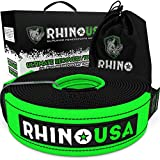 Rhino USA Recovery Tow Strap 3' x 20ft - Lab Tested 31,518lb Break Strength - Heavy Duty Draw String Bag Included - Triple Reinforced Loop End to Ensure Peace of Mind - Emergency Off Road Towing Rope