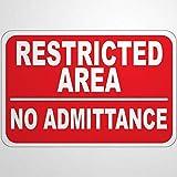 Señal de advertencia de camino con área restringida sin admisión, 8 x 12, letrero de aluminio y metal para exteriores