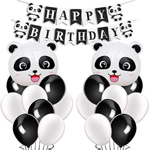 Kreatwow Panda Party Dekorationen Supplies Panda Mylar Luftballons Happy Birthday Banner für Geburtstag Party Babyparty Dekoration