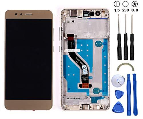 Snailcanfly Reemplazo Asamblea de Digitalizador para Huawei P10 Lite Was-LX1 LX1A LX2 LX3 WAS-L03T AL00 TL10 LX2J 5.2inch Pantalla LCD Táctil Digitalizador Gold con Marco