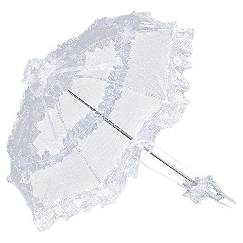 VON LILIENFELD Brautschirm Hochzeitsschirm Damen Klein Accessoire Tüll Salomea weiß