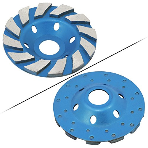 OCR 4' Concrete Turbo Diamond Grinding Cup Wheel Three Row Turbo Cup Disc Grinder for Angle Grinder 12 Segs Heavy Duty(Blue 12segs B)