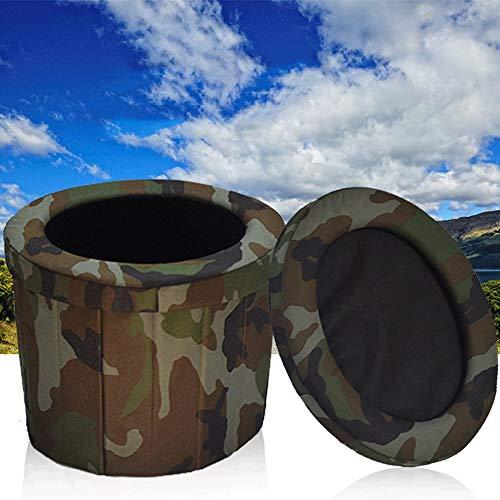 TERMALY Toilette De Camping Portative, Sac D'Urine Portable Pliable pour Adulte, Sac De Voyage Mobile, Visite ExtéRieure, Toilettes ExtéRieures, Toilettes Ovales, Portant 100 Kg, Support en Bois