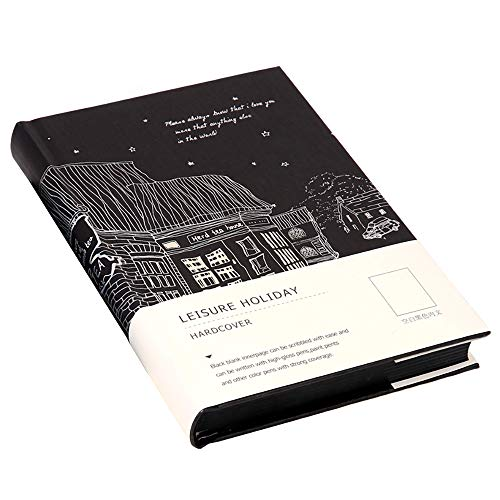 Schwarzes Papier Notizbuch, 128 Blatt Hardcover Skizzenbuch, 100gsm schwarzes Skizzenpapier, 13 x 18,5cm