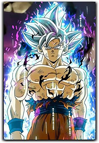XIAOMA Impression sur toile Dragon Ball Goku Japon Anime Poster et Super Saiyajin Impression sur toile Blanc Bleu 30 x 40 cm