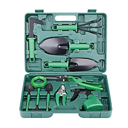 Gartenset Werkzeug,Gartenwerkzeug Sets,Garten Werkzeug mit Schaufel Spaten Gartenschere Unkrautkelle in Tragekoffer Ergonomische Anti-Rutsch-Griff,Geschenk für Gartenliebhabe (Grün)