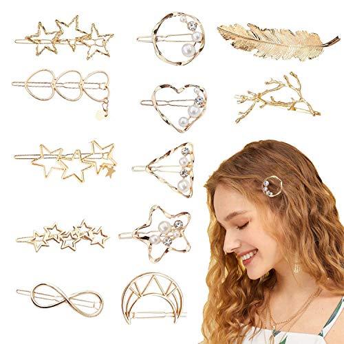 12er Set Haar Clips Haarschmuck, Metall Haar Pin Spangen Perle Haarklammern Haarnadeln Brautschmuck Haar Klammer Haar Haarspangen Zubehör Handgemacht Haarschmuck für Mädchen Dickes Haarstyling