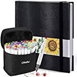 Ohuhu 72 Colors Alcohol Brush Markers (Brush & Chisel, Bonus 1 Colorless Blender) + 8.3' ×8.3' Marker Pads Art Sketchbook, 120LB/200GSM Heavy Smooth Drawing Papers, 78 Sheets/156 Pages