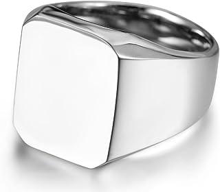 JewelryWe Gioielli Anello da Uomo Donna, Acciaio Inossidabile,Anelli Tono Argento Lucido Sigillo,Colore Argento(14-30)
