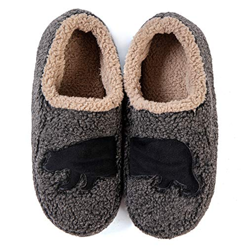 ULTRAIDEAS Men's Fuzzy Sherpa Fleece Slippers, Soft Sole Fleece Lined Indoor House Shoes with Non Slip Grippers, Black, 11-12