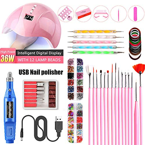 Nail Electric SA, UV Lampe de photothérapie, Nail Sticker Drill Tool Set, Les meilleurs cadeaux pour les filles de femmes,Bleu