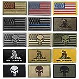【TERA】(15枚セット) パッチ ワッペン ベルクロ アメリカ 国旗 刺繍 ミリタリー サバイバル サバゲ― タクティカル 特殊部隊 コスプレ