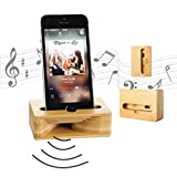 Wooden Cell Phone Stand, Coopsion Phone Holder Wooden Sound...