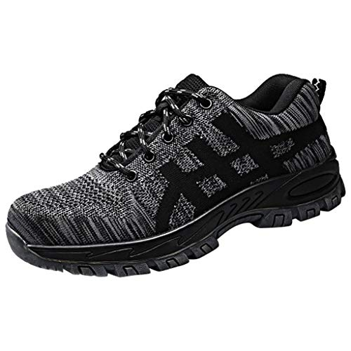 Zapatos de Seguridad para Hombre Lanskirt Zapatillas Deporte Hombres Running Verano Calzado de Trabajo Resistentes Desgaste de Malla Cómodo