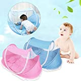 Foldable Baby Infant Pop-up Crib Cradle Anti-Bug Tent Mosquito Net With Mattress Pillow