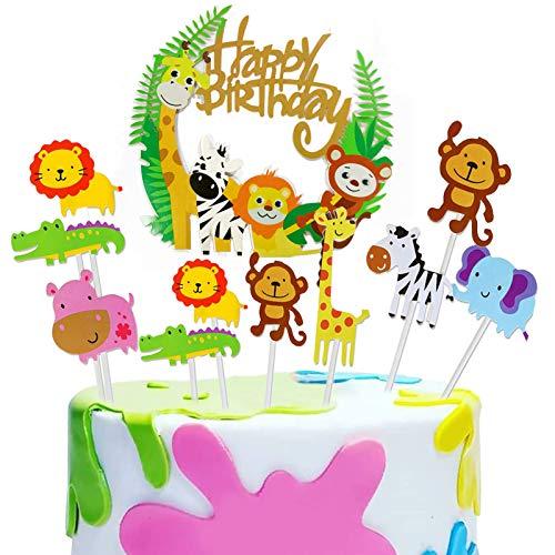43pcs Happy Birthday Cake Topper Set,Tier Cake Topper,Geburtstag Tortendeko,Kuchendeko,Muffin Deko,Geburtstagsdeko,Geburtstagspartys Dschungel Girlande für Kinder Junge Mädchen