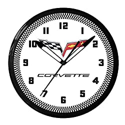 Corvette C6 Flags Genuine Vette Neon Wall Clock 20 Made in USA, 110V Electric, Aluminum Spun Case, Powder Coated Finish, Glass Face, Brass Movement, Pull Chain, 1 Year Warranty