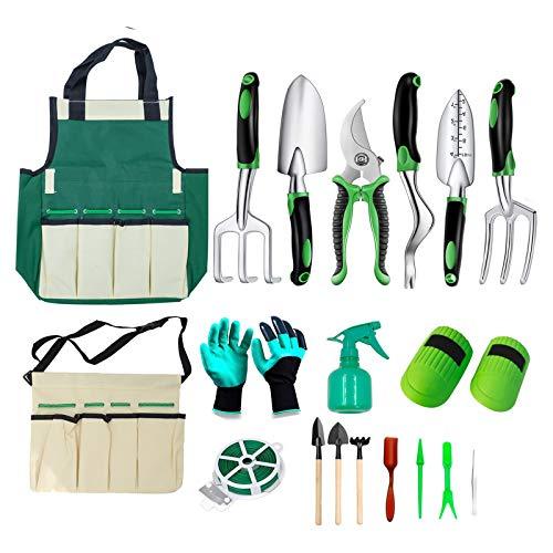 shoplease Herramienta de jardín 19Pcs, Kit de jardinería con Bolsa de Almacenamiento, Herramientas de plantación Masculinas Femeninas de Alta Resistencia