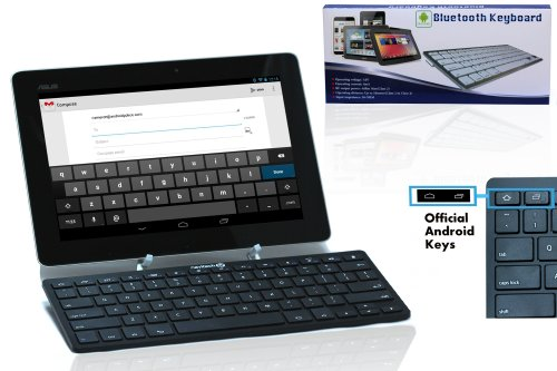 Navitech schwarzes Schlankes Wireless Bluetooth 3.0 Android Keyboard für das Kobo Arc 10 HD/Google Nexus 10 2012 / Lexibook Junior Tablet