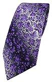 TigerTie Designer Krawatte in lila dunkellila anthrazit grausilber geblümt gemustert