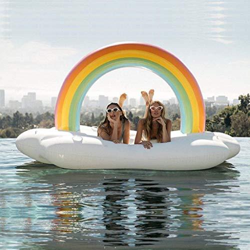 Swim Party Toys Schlauchboot White Jumbo Aufblasbare Regenbogen Leben Schwimmkammer Freibad Schwimmende Reihe Treibenden Bett Küste Spielzeug 210X140X135Cm, Golden_flower