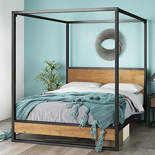 ZINUS Suzanne Metal and Wood Canopy Platform Bed Frame / No Box Spring Needed / Wood Slat Mattress Support / Easy Assembly, Twin