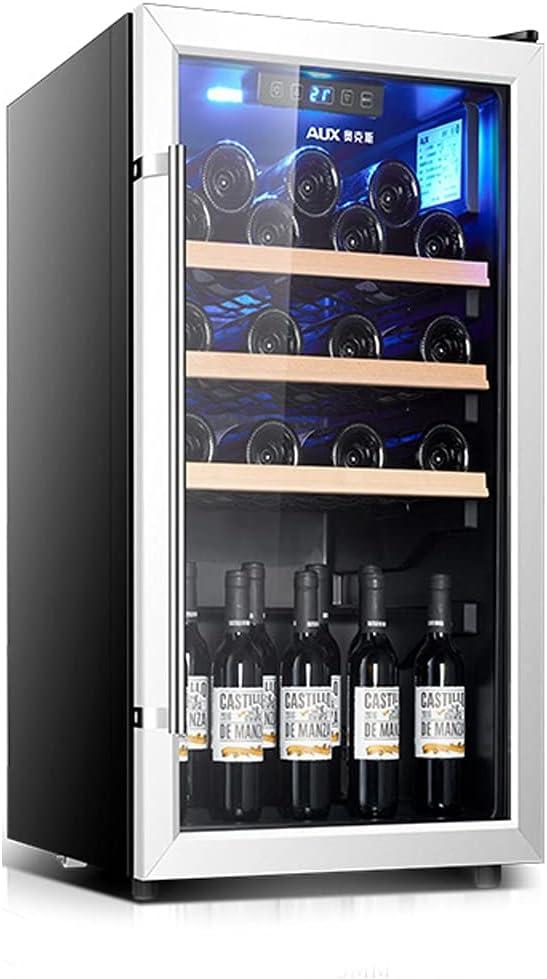 Gabinete de Vino de 28 Botellas, refrigerador de Vino Independiente, Bodega doméstica Independiente, refrigeración del compresor, Puerta de Cristal Templado (Color : Black, Size : 50 * 57.5 * 84.7cm)