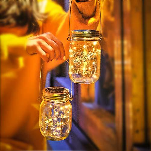 2 Pezzi Luci Del Barattolo Solari con 30 LED Lampade Solari Barattolo di Vetro Illuminante Impermeabile IP65 Luci LED Solari In Vetro Decorazione Leggera a Sospensione Lampada Solare Bianco Caldo