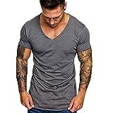 CICIYONER Herren T-Shirt mit extra tiefem V-Ausschnitt Slimfit deep V-Neck Stretch dehnbar Einfarbiges Basic Shirt Weiß grau M L XL XXL XXXL