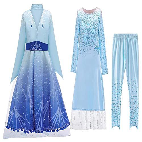 Emin ELSA Kostüm Mädchen Prinzessin Schneekönigin Eiskönigin ELSA 5 Kostüm Langarm Kleid Outerwear Hosen Outfit Set Verkleidung Halloween Weichnachten Ankleiden