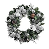 QL DESIGN 24 Inch Decorative Chrismats Wreath, Silver Glitter Mixed Green Color with 20 Warm LED